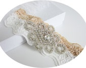 RAVEN - Vintage Inspired Ivory Champagne Stretch Lace Beaded Wedding Bridal Garter With Crystal Rhinestone