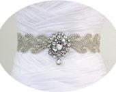 ELVINA - Statement Vintage Inspired Wedding Bridal Crystal Rhinestone Brooch Beaded Sash Belt