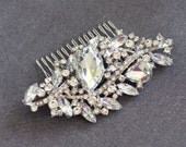 YVETTE - Vintage Inspired Crystal Rhinestone Bridal Hair Comb, Rhinestone Wedding Hair Comb, Vintage Hair Comb, Bridal Head Piece