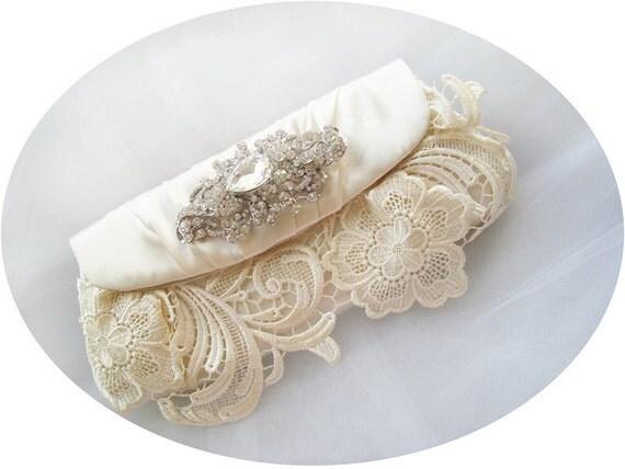 TIFFANY - Romantic Vintage Inspired Lace Satin Rhinestone Crystals Ivory Bridal Clutch