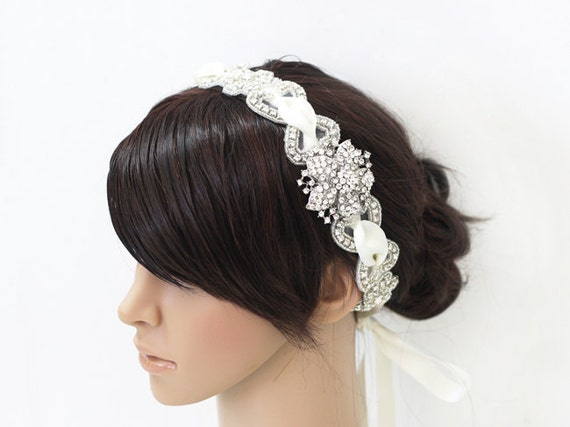 ELISSA -  Vintage Inspired Ivory Wedding Crystal Rhinestone Beaded Bridal Headband Headpiece