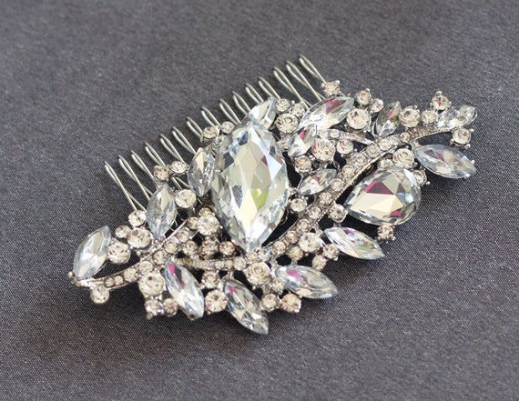 YVETTE - Vintage Inspired Crystal Rhinestone Bridal Hair Comb, Rhinestone Wedding Hair Comb, Vintage Hair Comb, Bridal Head Piece