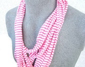 Pink and White Striped Skinny Scarf made out of 100% recycled Tee Shirts