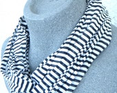 UNISEX Black and White Striped Skinny Infinity Scarf made out of 100% recycled Tee Shirts