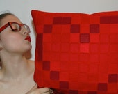 Pixel Red Heart Decorative Pillow Cover - Pixel Red Heart Cushion Cover