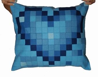 Pixel Blue Heart Pillow Cover - Pixel Heart - Heart Cushion Case