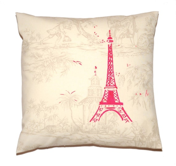 Neon Pink Paris Eiffel Tower Printed on French Toile de Jouy Pillow