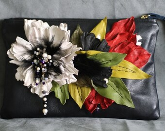 Leather Blossom Dark Blue Clutch art.S60R21