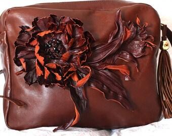 Brown Leather Flower Bag art.S62R63