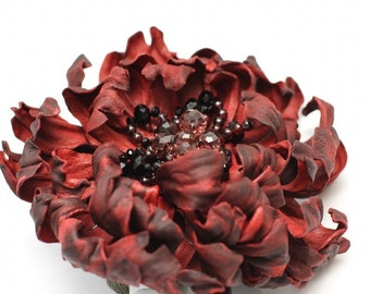 Vinous Leather Flower Brooch art.24V4R51