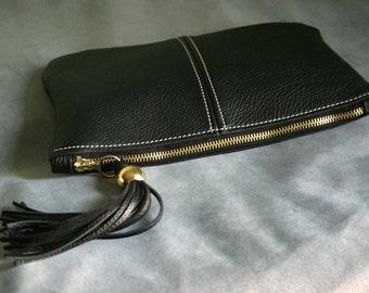 Black Leather Tassel Clutch art.S71R71