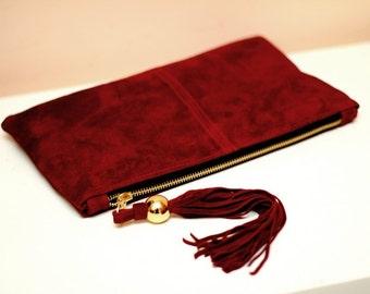 Red Vinous Suede Tassel Clutch art.S101