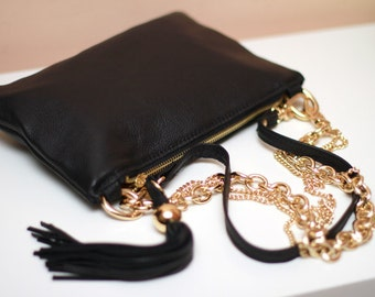 Black Leather Tassel Clutch art.S105R61