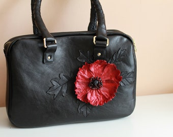 Black Leather bag with Poppy art.S106R61