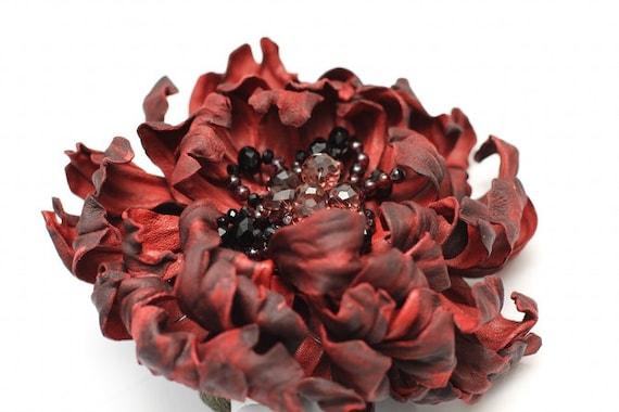 Vinous Leather Flower Brooch art.24V4R51