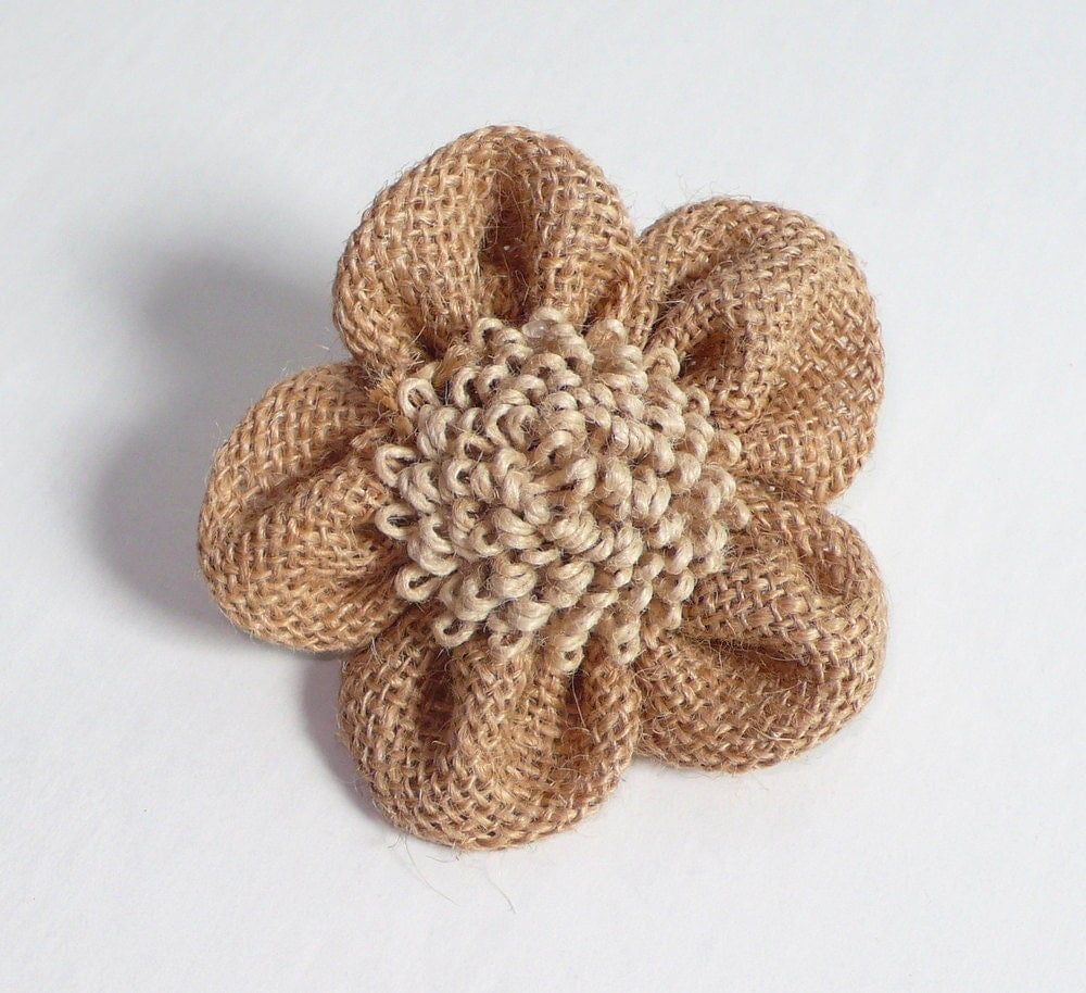 burlap flower template - organic burlap flowers set of 3 by trimsnsuch on etsy