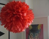 Large Paper Pom Pom in Mandarin Red