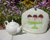 RESERVED FOR NANCIE Green Spotty  Tea Cosy with Cupcakes on Stand Applique
