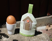 RESERVED FOR NANCIE Green Spotty Egg Cosy with Beach Hut  Applique