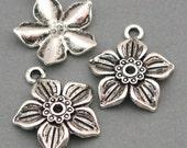 Flower Charms Antique Silver 6pcs pendant beads 19X22mm CM0015S