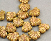 Czech Glass Maple Leaf Beads 10pcs yellow Picasso 10X13mm JB11019