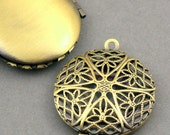 Filigree Round Lockets Antique Brass tone 2pcs base metal Charms 27mm CK0001B