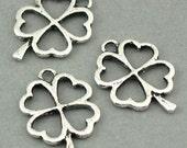 Clover Shamrock Charms Four-leaf Antique Silver 6pcs pendant beads 18X24mm  CM0177S