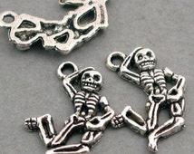 Dancing Skeleton Charms Antique Silver 6pcs base metal Charms 15X20mm CM0262S