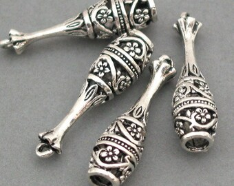 Flower bell Charms Antique Silver 4pcs pendant beads 8X30mm CM0013S