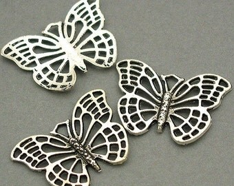 Butterfly Charms Antique Silver tone 6pcs base metal Charms 18X26mm CM0029S