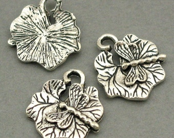 Dragonfly Charms Lotus Leaf Antique Silver tone 6pcs base metal Charms 15X16mm CM0032S