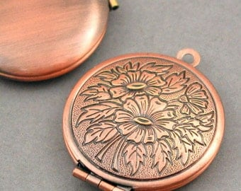 Flower Round Lockets Antique Bronze tone 2pcs base metal 27mm CK0006H