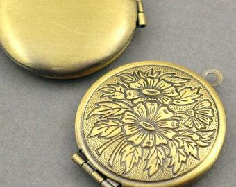 Flower Round Lockets Prayer Box Antique Bronze tone 2pcs base metal Charms 27mm CK0006B