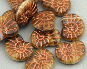 Czech Glass Shell Beads 10pcs brown Picasso 13X17mm JB11030