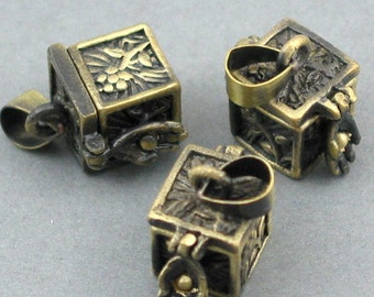Prayer Boxes Cubic Lockets Antique Brass tone 2pcs 9X14X20mm CK0011B