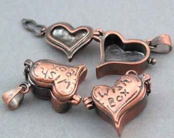 Heart shape Prayer Boxes lockets Antique Copper 2pcs brass 19X19mm CK0010H