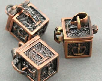 Prayer Boxes Cubic Lockets Antique Bronze tone 2pcs 11X11X23mm CK0018H