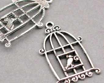 Bird Cage Charms Antique Silver 4pcs base metal Charms 20X34mm CM0157S