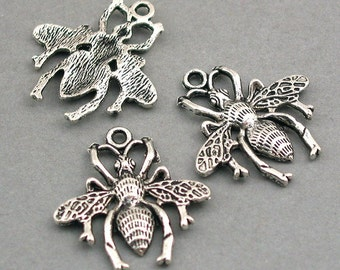 Insect Bee Charms Antique Silver tone 6pcs base metal Charms 24X25mm CM0207S