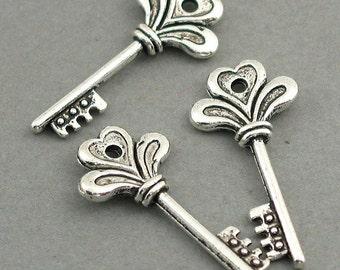 Key Charms Antique Silver 6pcs pendant beads 13X29mm CM0220S