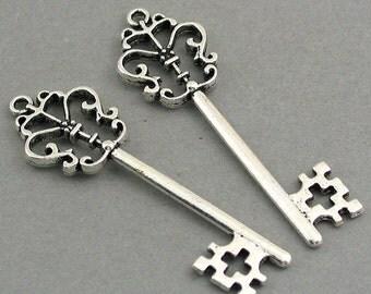 Key Charms Antique Silver tone 4pcs base metal Charms 21X58mm CM0221S
