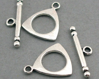 Triangle Toggle Clasp Antique Silver tone 6 sets base metal 15X19mm BS01008SC