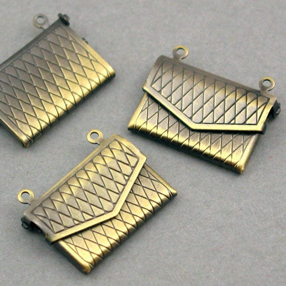 Purse Lockets Prayer Boxes Antique Brass tone 4pcs base metal 17X22mm CK0003B