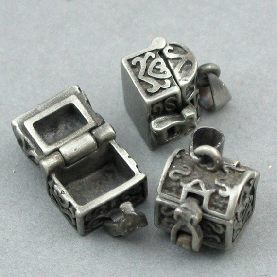 Prayer Boxes Cubic Brass Lockets Antique Silver tone 2pcs 11X10X19mm CK0014S