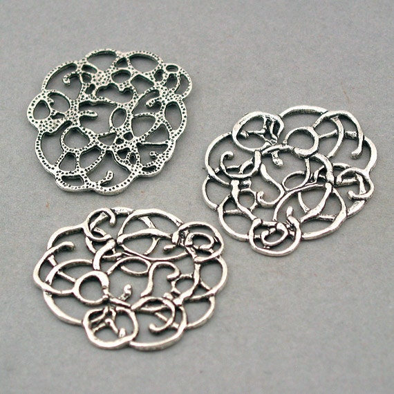 Curve Charms Abstract Flower Vine Links Antique Silver 4pcs base metal Charms 29X33mm CM0205S