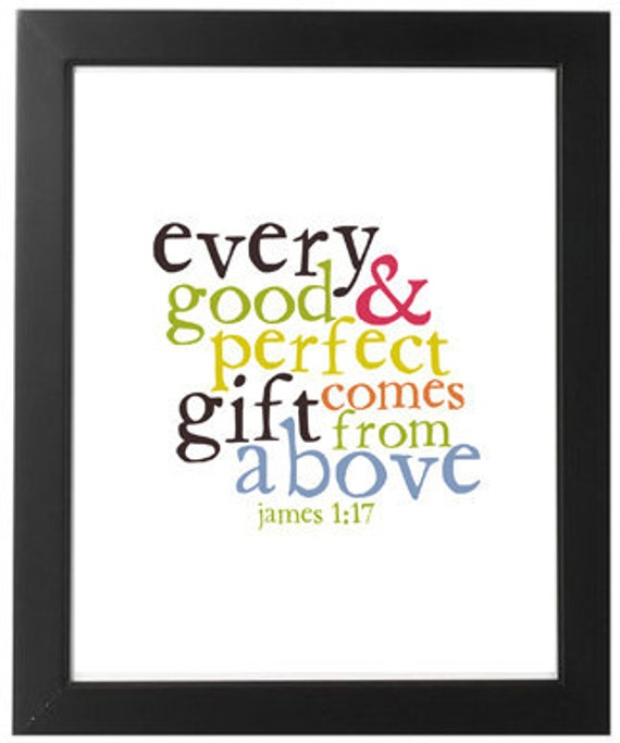 James 1:17 Nursery Poster - Every Good and Perfect Gift - Archival Quality Print or Canvas