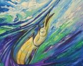 "Original Acrylic Sailfish Ocean Beach Decor Painting Textured- 40""x40""inches by Kathleen Fenton"