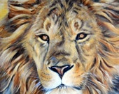 "Original Acrylic Lion Of Judah Painting - 16""x20""inches by Kathleen Fenton"