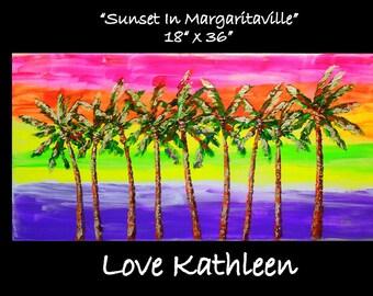 Modern Large  Beach Decor Ocean Decor  Palette Knife Thick Impasto Palm Tree Painting - by Kathleen Fenton