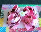 Pink and Brown Flower  Boutique Hair Bow